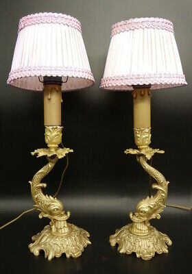 Pair Of Lamps, Dolphins Decor, Rococo Style Era 19Th - Bronze - French Antique