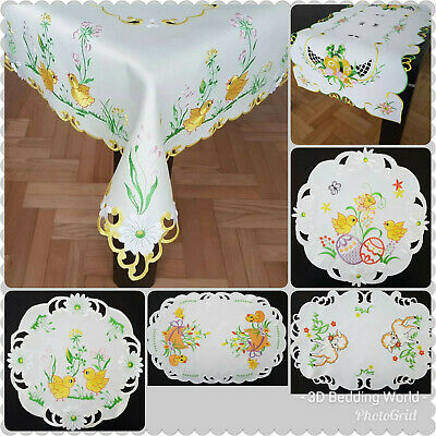 Easter High Quality Embroidered Tablecloths Table Runner White Ivory with Rabbit
