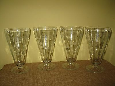 4 Vintage Tumbler cup Sundae footed Glasses Etched Dots Lines 16 ounces clear