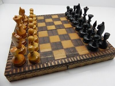 Vintage Retro Wooden Hand Made Travel Size Chess Set And Box