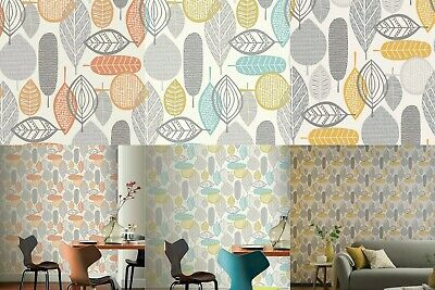 Arthouse Retro Vintage Malmo Teal Grey Green Leaf Print Leaves Wallpaper 902302