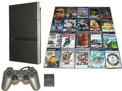 Sony PS2 Slim Konsole Silber + 1 Controller + 5 Spiele Gratis * Playstation 2