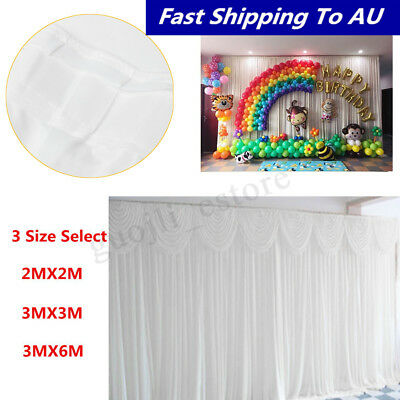 Wedding Party Stage Backdrop Drape Sheer Curtain Photo Background with Swag SET