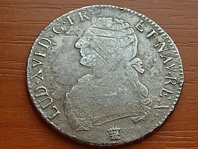 France Silver Ecu 1790 I Louis XVI 1774-1792 AD Limoges mint Very Rare Coin