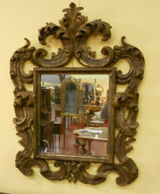 Italian Baroque Cartoccio Solid Wood Carved Mirror From Xix Century