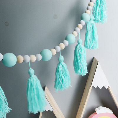 Nordic Style Wood Beads String With Tassel Tent Wall Hanging Car Kids Room Decor