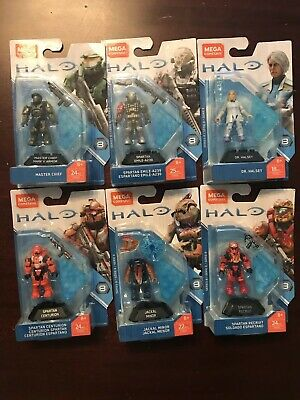 NEW MEGA CONSTRUX Halo Heroes Series 8 COMPLETE SET Master Chief Dr Halsey  Emile