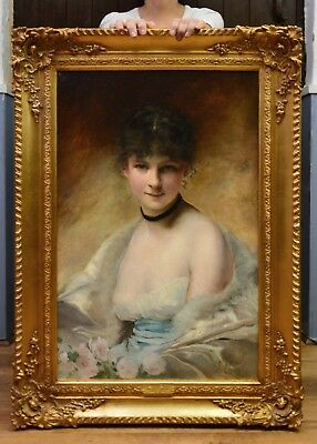 Large Fine Antique 19thC French Oil Painting Portrait Society Beauty Girl Nude