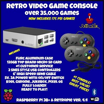 RETROPIE GAMING CONSOLE Raspberry Pi 3B+ Over 35,000 Games + 175 PS1 Games  128GB
