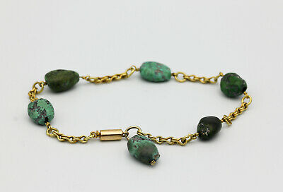 Antique Egyptian revival solid high carat gold turquoise bracelet 18ct+