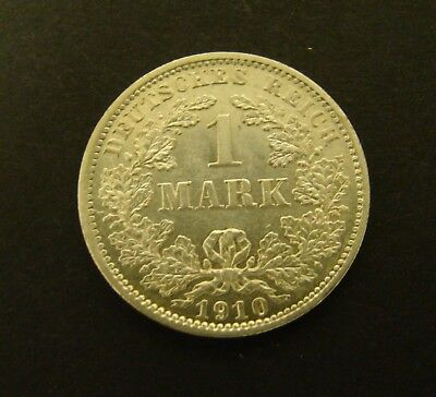 1910 D GERMANY 1 MARK SILVER  AU      Foreign Coin    German Empire