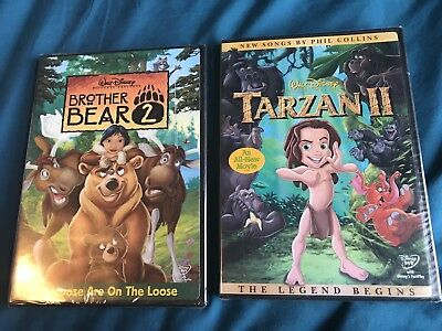 2 NEW Walt Disney DVDs Brother Bear 2 And Tarzan 2 - Brand New Sealed!