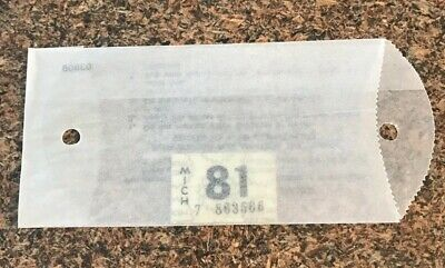 1981 Michigan License Plate Tab Sticker NOS Original Never Used Vintage