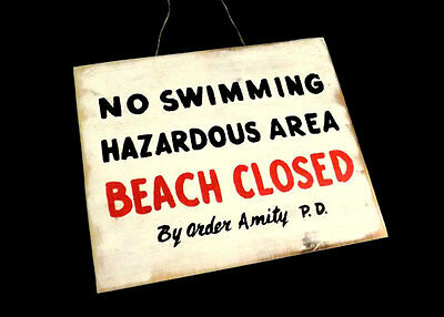 JAWS Amity Beach Closed No Swimming Distressed Wooden Sign Handmade Prop