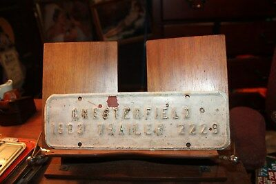 1983 Chesterfield County License Plate Virginia Topper #2229 Trailer Bad Paint