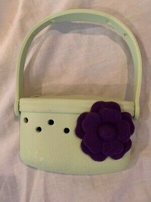 EUC Light Green JIBBITZ Rubber Purse, Purple Felt Flower, FREE SHIPPING
