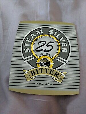 beer pump clip badge - RCH Brewery, West Hewish. Silver Steam 25 Year Ale