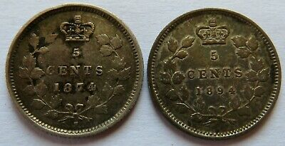 Canada 1874-H + 1894 5 Cents Silver coins, Better Date Canadian 5C  (181128M)