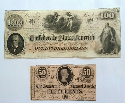 Set of two old Confederate Notes old  fifty cents &  $100 dollar notes 1863&1864