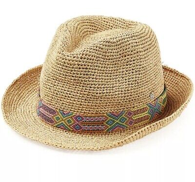 Anthropologie  120 FLORA BELLA Womens Adjustable Raffia Fedora Hat w Beaded  Band f1f52746805d
