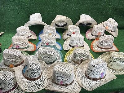 c6ecc9e76ee 21pc Colored Straw Cowboy Hat Cowgirl Western Hats w  Snaps BULK WHOLESALE  LOT
