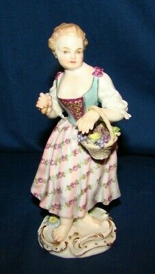 Antique Meissen Figurine Girl w/ Basket Of Grapes As-Is