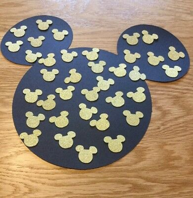 50Large Gold glitter Card Mickey Mouse Disney heads Wedding party table confetti