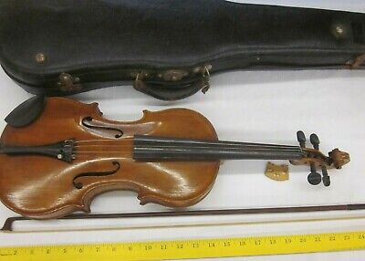 Vintage Antique Old Case Copy of Stradivarius Germany Violin France Bow Lot