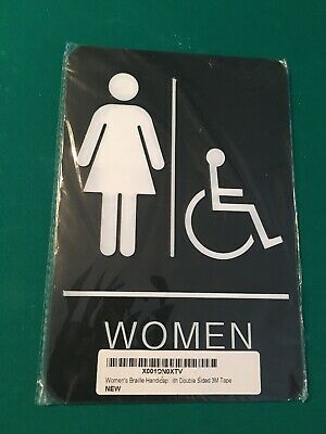 Black and White Molded Plastic 6x9 Inches 1-Sign Hillman 844153 Women ADA Compliant Grade 2 Tactile Braille Self Adhesive Sign