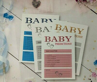25X Baby Prediction & Advice Cards New Mum To Baby Shower Games boy / girl M24s1