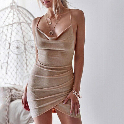 Women Sexy Sleeveless Sling Solid Color Backless Evening Club Party Slim Dress G