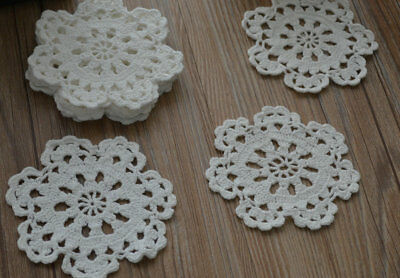 Lot 12 Crochet Vintage Small White Doilies Snowflake Appliques