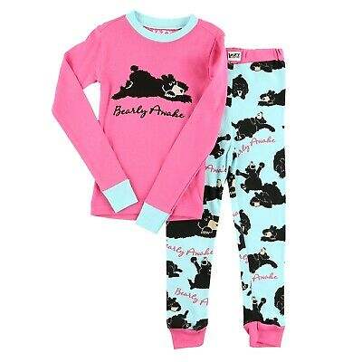 LazyOne Mädchen Bearly Awake Kinder Pyjama Set Langarm