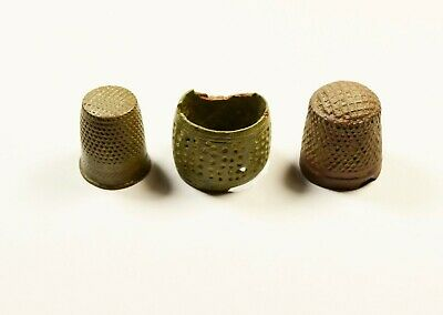 Ancient Roman To Medieval Bronze Thimle Thumble Rings - Lot Of 3