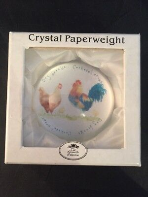 Crystal Paperweight The Reonado Collection Chicken Cockerel