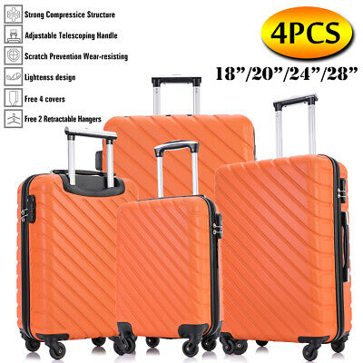 "20""/24""/28"" Set of 3 Luggage Set Travel Bag Trolley Spinner ABS Suitcase Pink"