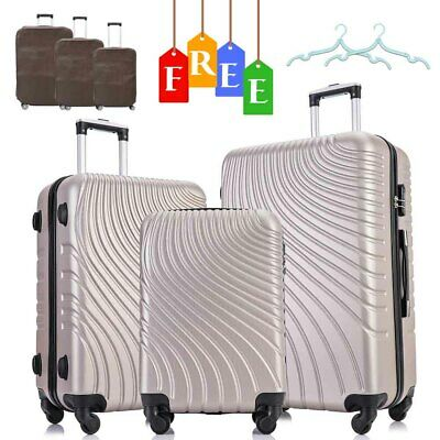 3PCS Luggage Set Travel Bag Trolley ABS Spinner Hard Bag Business Suitcase Gold