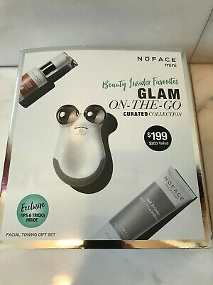 NEW NuFace MIni, Facial Toning Gift Set, Glam on the Go Curated Collection