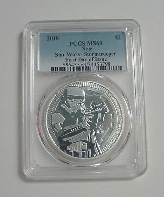 2018 Niue PCGS MS69 Star Wars Stormtrooper First Day Issue 1 Oz Silver $2 Coin