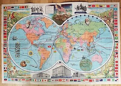 1960 McCormick's Map of the World, historic trade routes, lithographic map