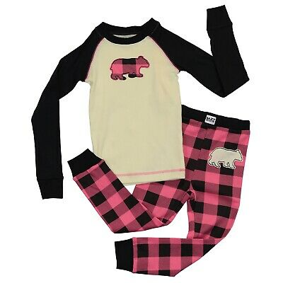 LazyOne Mädchen Bear Plaid Kinder Pyjama Set Langarm