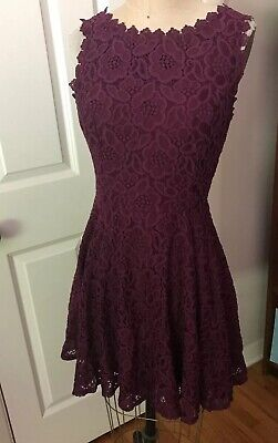 6a640b842 Jodi Kristopher Dress A-line Sleeveless Lace Purple Prom Party NEW Juniors 7