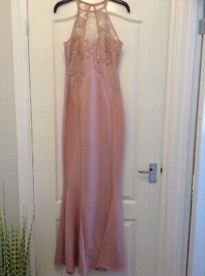 f281f14b81e8 LIPSY Michelle Keegan BNWT Blush Pink Sequin Lace Halterneck Prom Maxi  Dress 12