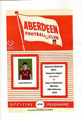 Programme - Aberdeen v Heart of Midlothian 18th February 2019 Reserve League