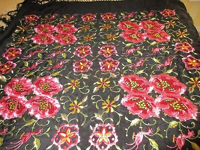 Antique Vintage 1920's Black Silk Fringe Embroidered Piano Scarf Shawl Excellent