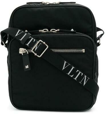d6f50db6b1c9 New Valentino Current Black Techno Leather Vltn Logo Messenger Crossbody Bag