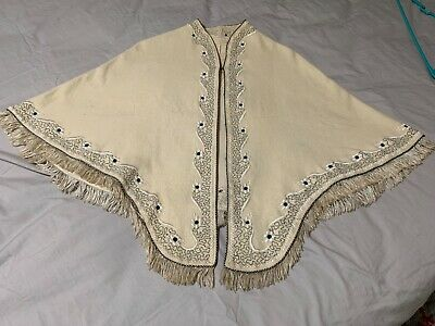 """Antique wool shawl Ivory color Good condition """"made in Saddar,Karachi"""""""