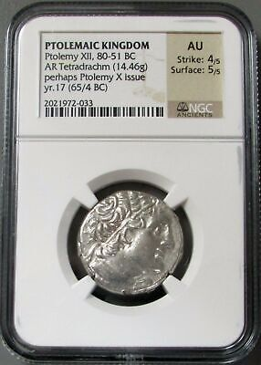 80-51 Bc Ptolemaic Kingdom Ar Tetradrachm Ptolemy Xii Coin Ngc About Unc 4/5 5/5