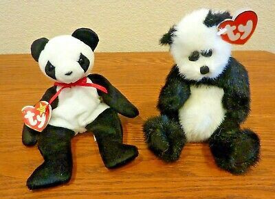 Ty Beanie Babies Fortune Panda The Attic Treasures Checkers Panda w/Tags