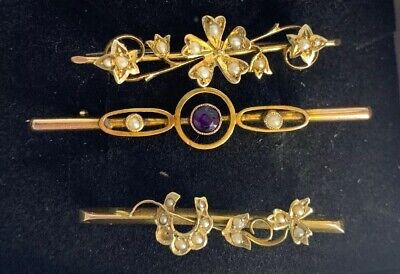 Job Lot Of 3 Edwardian Brooches 9ct Gold Amethyst Seed Pearl Antique 5.3g